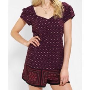 UO Staring At Stars Lace Up Romper Festival